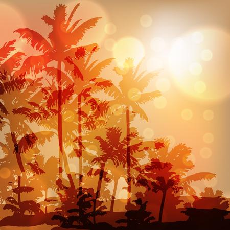 defocus: Sea sunset with island and palm trees. Sunny orange background. EPS10 vector. Illustration