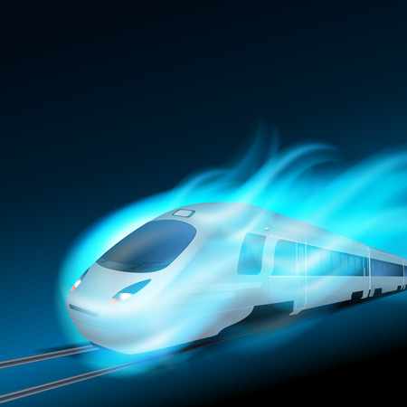 high speed train: High-speed train in motion blue flame at night. EPS10 vector.