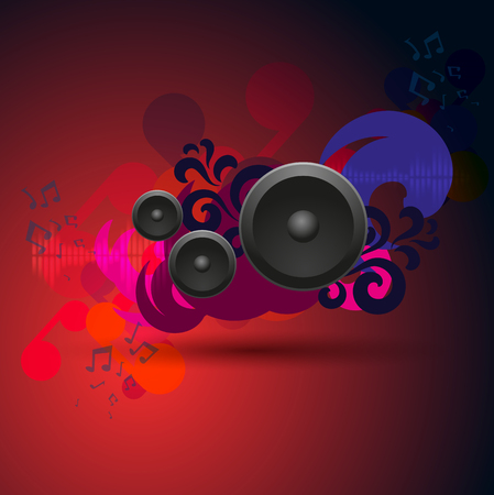 Abstract red vintage music pattern with round speakers. EPS10 vector.