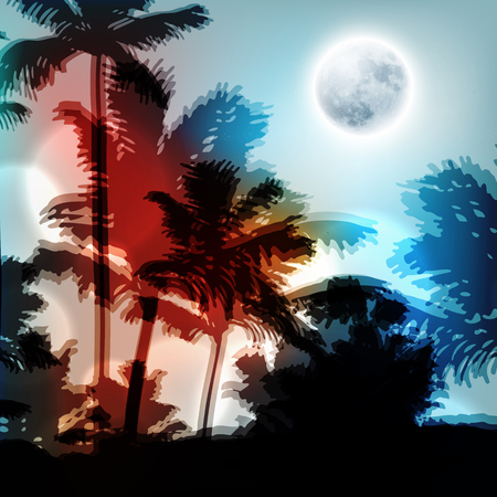 Landscape with palm trees and full moon at night. EPS10 vector. Illustration