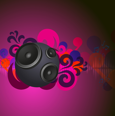 speakers: Abstract pink vintage music background with round speakers. EPS10 vector.