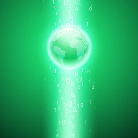 Stream of binary code to the globe. EPS10 vector green background for your business design. Illustration