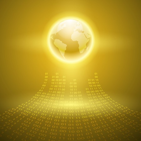 programming code: Stream of binary code with the globe. EPS10 vector yellow background.