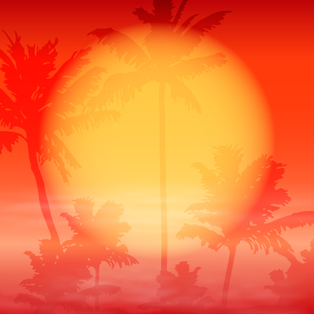 horizon over water: Sea sunset with palm trees. EPS10 vector red background for travel concept.