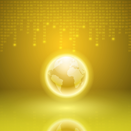 Stream of binary code with the globe. EPS10 vector yellow background.