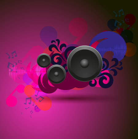 Abstract pink vintage music background with round speakers. EPS10 vector.