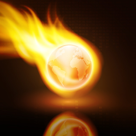 Flying orange flaming the globe on dark background with stream of binary code. EPS10 vector.