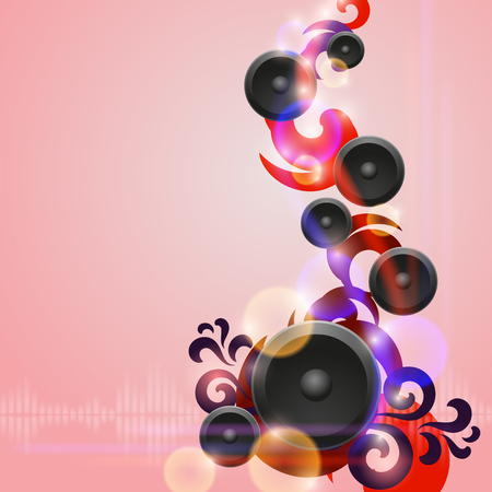 Abstract music background with speakers. EPS10 vector.