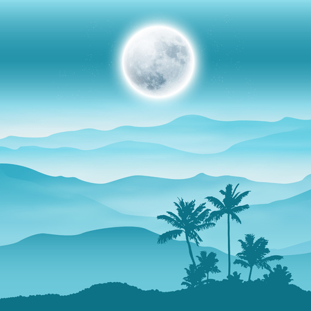 Blue background with fullmoon, palm tree and mountains in the fog. EPS10 vector.