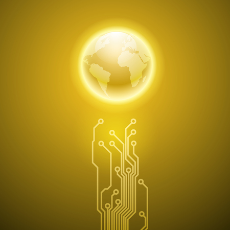 processors: Abstract electronics yellow background with circuit board texture and the earth. EPS10 vector.