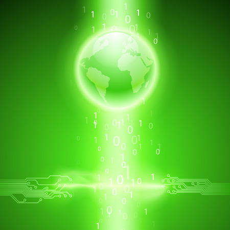 Abstract electronics green background with circuit board texture and the earth. EPS10 vector background for your business design.