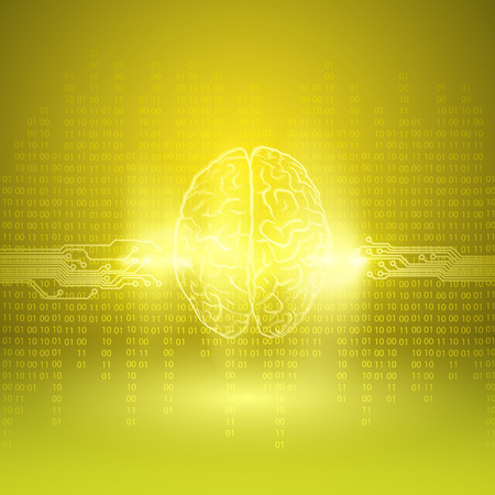 mentality: Digital brain on yellow background. EPS10 vector. Illustration