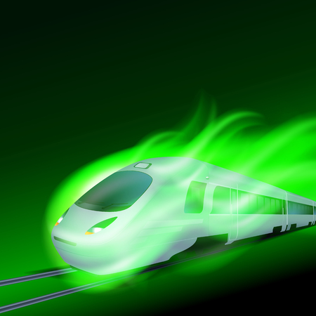 High-speed train in motion green flame at night. EPS10 vector.