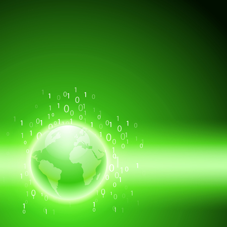 programming code: Stream of binary code to the globe. EPS10 vector green background for your business design. Illustration