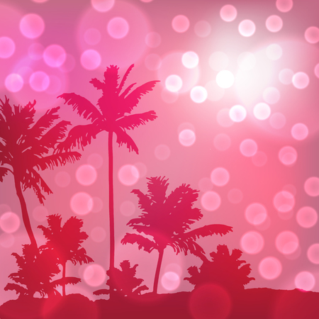 Purple sea sunset with island and palm trees. EPS10 vector.