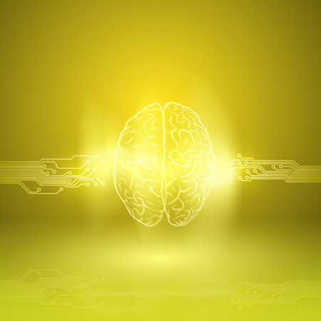 Digital brain on yellow background. EPS10 vector. Illustration