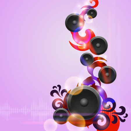 Abstract purple music background with speakers. EPS10 vector. Illustration