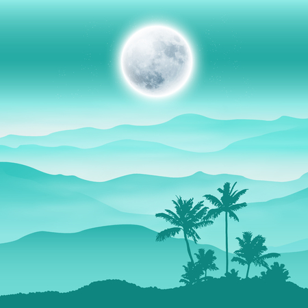 Background with fullmoon, palm tree and mountains in the fog. EPS10 vector.