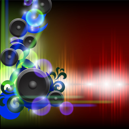 speakers: Abstract equalizer background with speakers. Green-red wave. EPS10 vector.