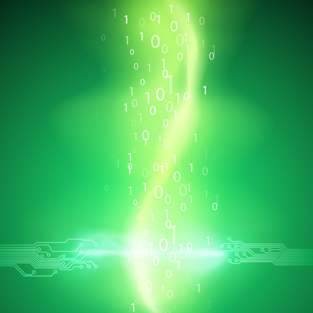Stream of binary code with a circuit board texture and current arc. EPS10 vector green background.