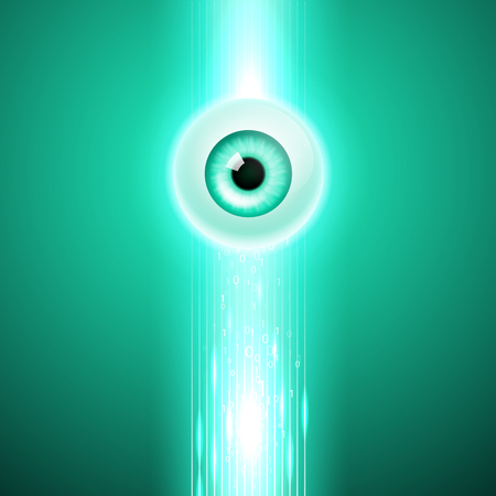3d ball: Abstract green background with eye and stream binary code. EPS10 vector. Illustration