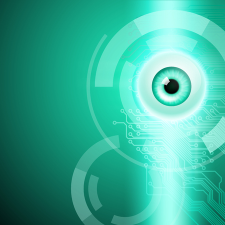 security monitor: Abstract green background with eye and circuit. EPS10 vector. Illustration