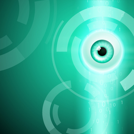 security monitor: Abstract green background with eye. EPS10 vector.