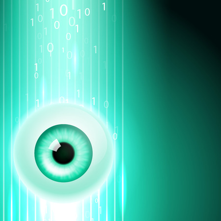 security monitor: Abstract green background with eye and stream binary code. EPS10 vector. Illustration