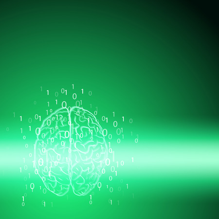 Digital brain on green background. EPS10 vector.