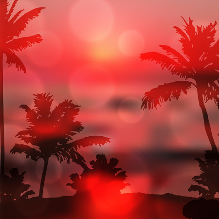 Sea purple sunset with island and palm trees. EPS10 vector. Illustration