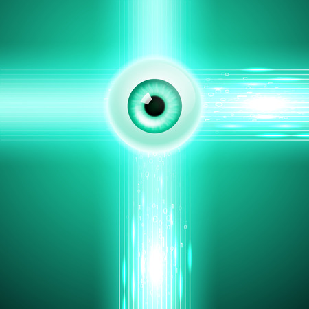 Abstract green background with eye and stream binary code. EPS10 vector. Illustration