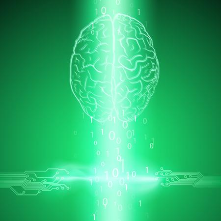 Digital brain on green background. EPS10 vector.