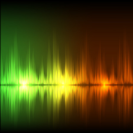 Abstract equalizer background. Green-orange wave. EPS10 vector.