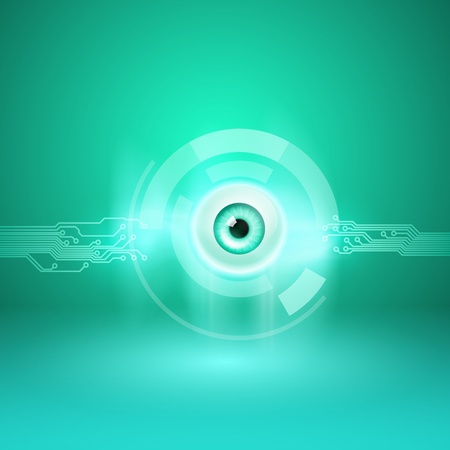 Abstract green background with eye and circuit. EPS10 vector. Illustration