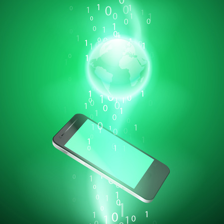 Stream of binary code with mobile phone. EPS10 vector green background.