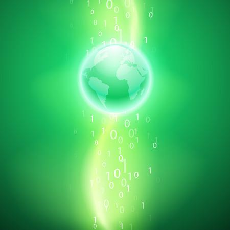 Stream of binary code to the globe. EPS10 vector green background.