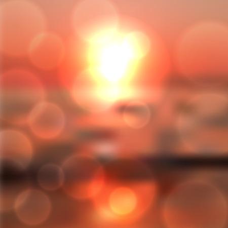 Blurred sea sunset background with light on lens, red summer background. Illustration