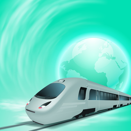 Green concept background with high speed train and globe. Illustration