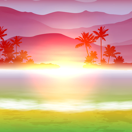 Tropical background with sea and palm trees. Illustration
