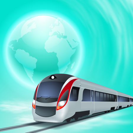 Blue concept background with high speed train and globe.