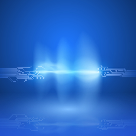 Abstract blue background with a circuit board texture and current arc.