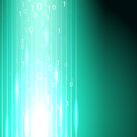 Stream of binary code blue background.
