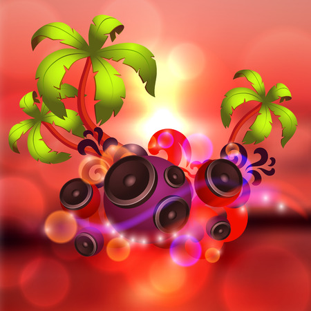 Tropical disco dance red background with music and fantasy design elements.