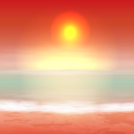 Sea orange sunset, tropical summer background.
