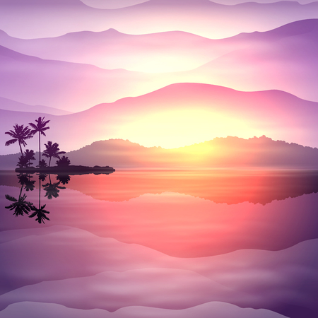Purple tropical summer background with sea and palm trees at night.