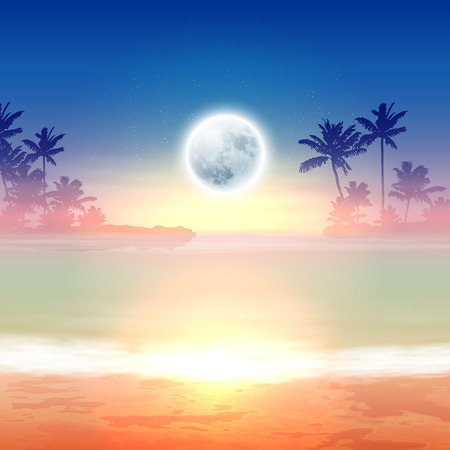 Beach with palm trees and full moon at night, tropical background.