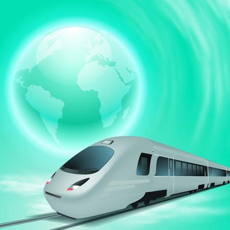 Green concept background with high speed train and globe. Illusztráció