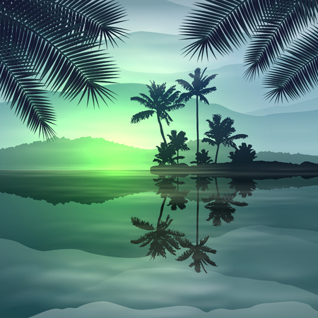 Green background with sea and palm trees at night. Illustration