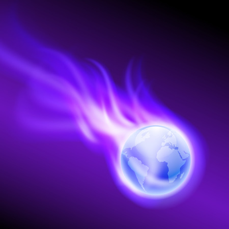 Flying purple flaming the globe on dark background.