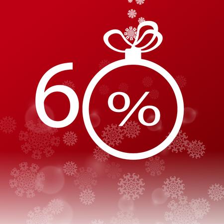 Christmas sale design template. 60 percent discount. EPS10 vector illustration.